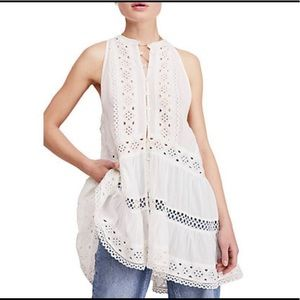 FREE PEOPLE Ivory Adelaide Button Down Sleeveless
